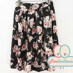 JVL - Pleated Floral Midi Skirt