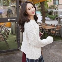 QNIGIRLS - Round-Neck Cable-Knit Sweater