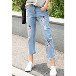 REDOPIN - Embroidered-Detail Cropped Jeans