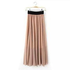 Pasmer - Contrast-Trim Shirred Long Skirt
