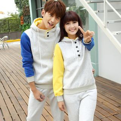 Igsoo - Set: Matching Couple Hooded Pullover + Sweatpants