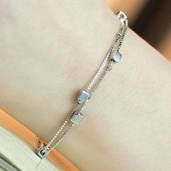 Kitty Kiss - 925 Sterling Silver Cube Layered Bracelet