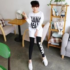 Cocopop - Set: Lettering Loose-Fit T-Shirt + Lettering Leggings Pants