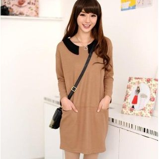 59 Seconds - Contrast Collar Knit Dress