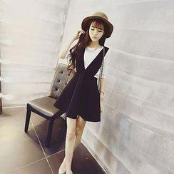 Ashlee - Set: Plain Elbow-Sleeve Top + A-Line Jumper Dress