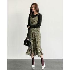 UPTOWNHOLIC - Spaghetti-Strap Floral Print Dress