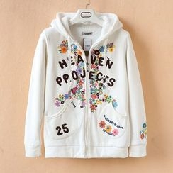 Nycto - Hooded Floral Zip Jacket