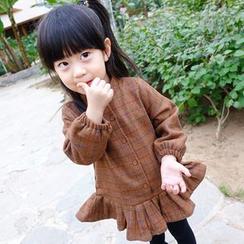 CUBS - Kids Check Buttoned Long Sleeve Dress