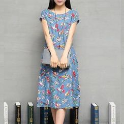 GLIT - Short-Sleeve Floral Midi Dress