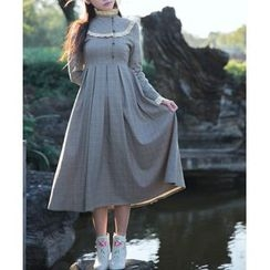 GOGO Girl - Long-Sleeve Pleated Midi Dress