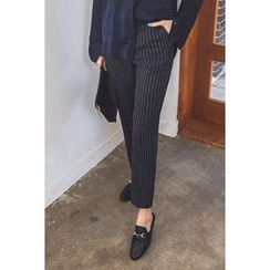 migunstyle - Flat-Front Striped Pants