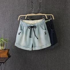 Blue Rose - Embroidered Cat Denim Shorts