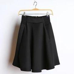 JVL - Contrast-Waist Pleated Midi Skirt