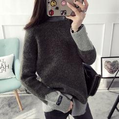 Qimi - 雙色高領毛衣