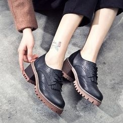 VIAN - Fringed Lace-Up Chunky-Heel Oxford Shoes
