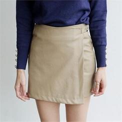 LIPHOP - Faux-Leather Wrap Miniskirt