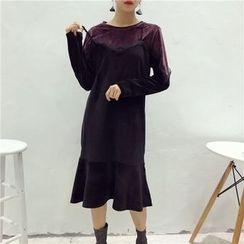 Octavia - 荷葉擺假兩件連衣裙