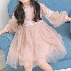 HELLO BABY - Kids Long-Sleeve Party Dress