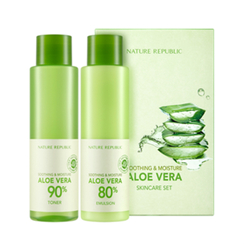 Nature Republic - Soothing & Moisture Aloe Vera Basic Set:  Aloe Vera 90% Toner 160ml +  Aloe Vera 80% Emulsion 160ml