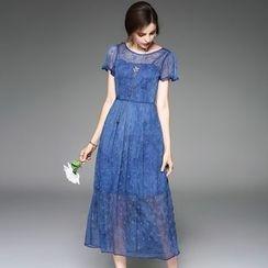 Queen Mulock - Short-Sleeve Embroidered Midi Dress