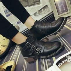 Yoflap - Buckled Chunky Heel Ankle Boots