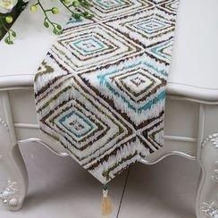 Sun East - Floral Print Tasseled Table Mat