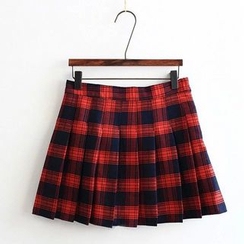 Moricode - Plaid Pleated Skirt