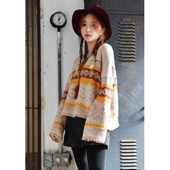 GOROKE - Tassel-Neck Patterned Sweater