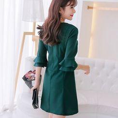 YUMU - Plain Ruffle Trim 3/4 Sleeve Dress
