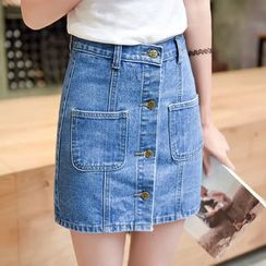 Sonnet Isle - Buttoned Down Mini Denim Skirt