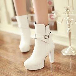 Gizmal Boots - Buckled Block Heel Short Boots