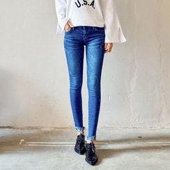 Seoul Fashion - Fray-Hem Washed Skinny Jeans