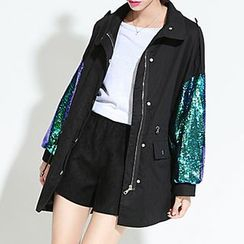 Myrtle - Sequined Drawstring Waist Trench Coat