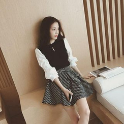 Honey Diary - Set: Mock Two Piece 3/4 Sleeve Blouse + A-Line Mini Skirt