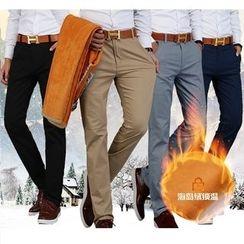 Denimic - Fleece Lined Straight-Cut Pants