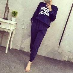 Honey Diary - Pajama Set: Letter Applique Long Sleeve Top + Pants