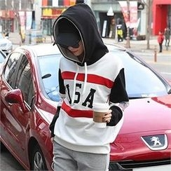 CHICFOX - Color-Block Hooded Top
