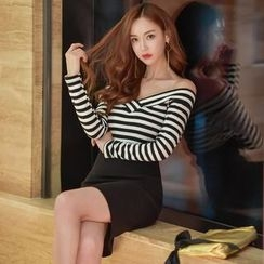 Gl.bY - Long-Sleeve Off Shoulder Striped Sheath Dress