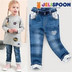 JELISPOON - Girls Lace-Trim Tapered Jeans