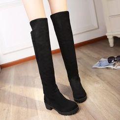CITTA - Block Heel Over-the-knee Boots