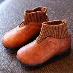 绿豆蛙童鞋 - 童装针织拼接短靴