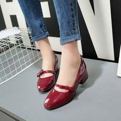 傾城 - 蝴蝶結漆皮平跟鞋