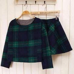 Ringnor - Set: Plaid Top + Elastic-Waist Skirt