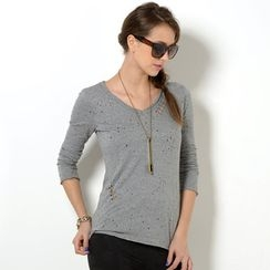YesStyle Z - Distressed Long-Sleeve T-Shirt with Necklace