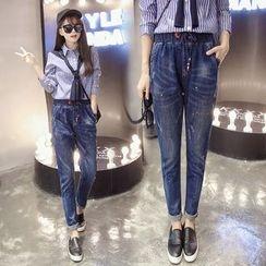 Nassyi - Paint Splattered Straight-Cut Jeans