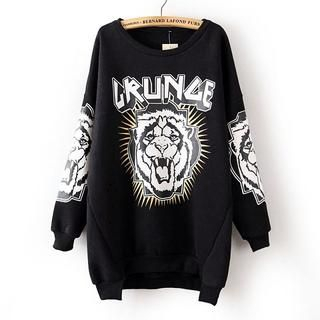JVL - Brushed-Fleece Lined Tiger-Print Sweatshirt