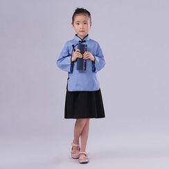 Cypress - Kids Cheongsam Set: 3/4 Sleeve Top + A-Line Skirt