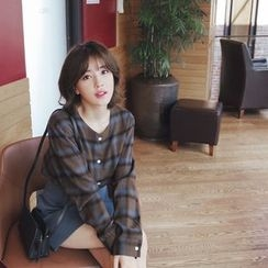 mimi&didi - Collarless Plaid Blouse