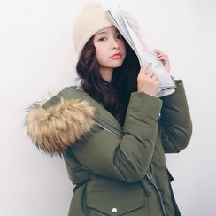 MIKPO - Faux Fur Trim Hooded Parka