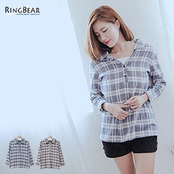 RingBear - Tie-Back Plaid Linen Shirt